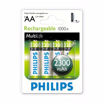 Pilha Recarregável Philips Aa Nimh 2300mah (4) R6b4a230