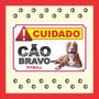 Placa Advertência Cuidado Cão Bravo Várias Raças Pitbull