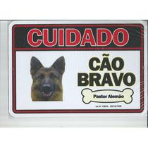 Placa Advertência Pastor Alemão Cão Bravo - Frete Grátis!