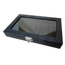 Caixa Estojo De Luxo Para 12 Canetas - Tampa De Vidro