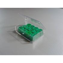 Kit 12 Dados D6 Clássicos Verde Em Caixa Acrílica