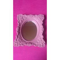 Espelho Em Gesso Com Moldura Rosa Provence