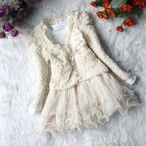 Vestido Importado Meninas 2 Peças Com Casaco Outono /inverno