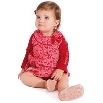Vestido Bebê Em Veludo E Camiseta Manga Longa Vermelha He