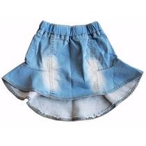 Saia Babado Jeans Infantil Importado Verão 2016 07xlk100
