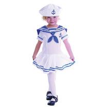 Sailor Costume - Bonito Marinho Branco Menina Da Criança Id