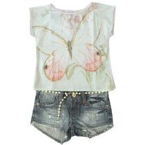 Camiseta Menina Em Cetim Borboleta E Short Jeans Estonado Co