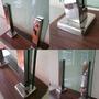 Coluna Inox Retangular Para Guarda Corpo E Corrimão De Vidro