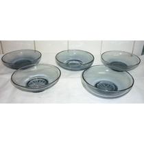 Conjunto 5 Taça Sobremesa Pote Vidro Azulado Antigo