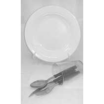Prato Branco Raso 25cm Buffet, Restaurante+ Talher+copo