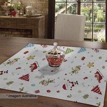 Toalha Centro De Mesa Teka Branca Vermelha Natal
