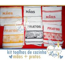 Toalha Bordada Ponto Cruz Prato Mão (unidade)