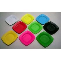 Pratos Plástico Quadrado Sobremesa Pequeno Rígido