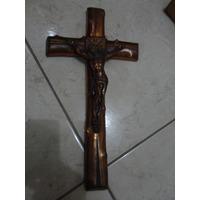 Crucifixo Decada De 60 Cobre E Gesso Tam 37 X 19 Cm