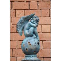 Estátua Anjo Bola Luminária De Ferro- Vrf139 Casa E Jardim