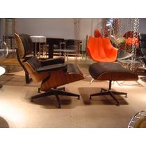 Poltrona Charles Eames Com Banqueta - Couro Natural