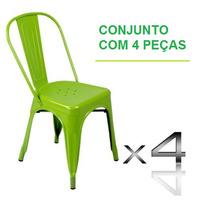 Cadeira Tolix Francesinha Sem Juros Conjunto Com 4 Unidades
