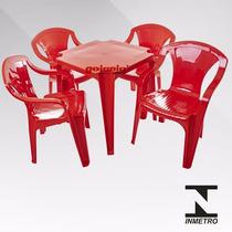 Jogo De Mesa Com 4cadeiras Vermelha De Plástico Empilháveis