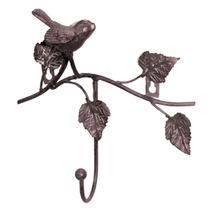 Gancheira Marrom Pássaro E Folhas - 1 Gancho - Em Ferro