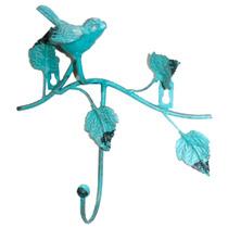 Gancheira Azul Claro Pássaro E Folhas - 1 Gancho - Em Ferro