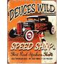 Placas Decorativas Hot Rod Speed Shop Pin Up Vintage Car