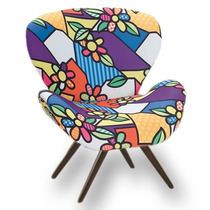 Poltrona / Cadeira Decorativa Romero Britto Pés De Madeira
