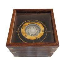 Bússola Decorativa C/ Caixa Em Madeira Grande
