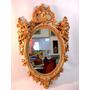 Espelho Europeu Oval Moldura Com Anjos Folhas De Pó De Ouro