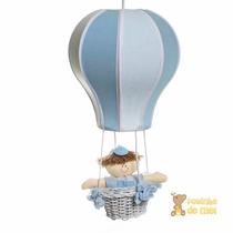 Lustre Balão Balãozinho Acinturado Azul Cesta Menino Bebê