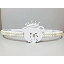 Dossel Urso Branco Com Pérolas+ Véu Mosquiteiro Tecido Tulle