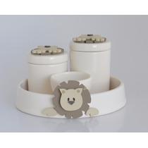 Kit Higiene Leão Porcelana Cerâmica Safari Floresta Zoo Bebê