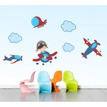Adesivo Infantil Aviões Céu Decorativo Parede Quarto Bebe
