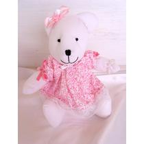 Ursinha Rosa Em Tecido Para Decoração De Quarto De Bebê