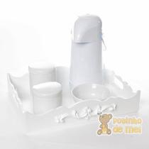 Kit Higiene Bandeja Resina Arabesco Quarto Bebê E Infantil