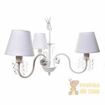 Lustre 3 Lâmpadas Com Cristais E Flores Quarto Bebê Infantil