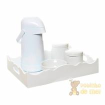 Kit Higiene Bandeja Ondulada Branca Quarto Bebê E Infantil