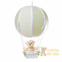 Lustre Grande Balão Balãozinho Cesta Urso Verde Bebê Infanto