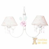 Lustre Branco Pingentes E Flores Quarto Bebê Infantil Rosa