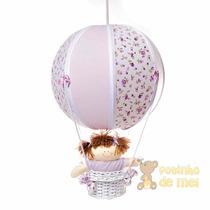 Lustre Grande Balão Balãozinho Lilás Cesta Menina Bebê