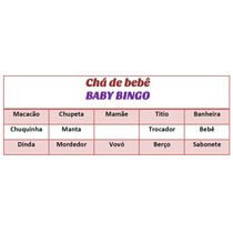 Baby Bingo Cartelas Imprimir Chá De Bebê Rosa + Brindes