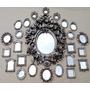 Kit 25 Espelhos Decorativos Moldura Em Resina Prata Velha