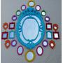 Kit 25 Espelhos Decorativos Moldura Em Resina Coloridos