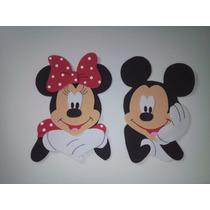 Apliques Em Eva - Mickey E Minnie Kit Com 12 Unidades