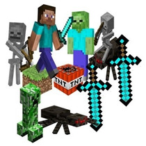 Display Decoração Festa Infantil Minecraft Aranha Esqueleto