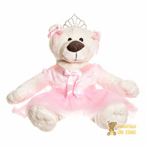 Bicho De Pelúcia Menina Ursa Bailarina Coroa Bebê Infantil