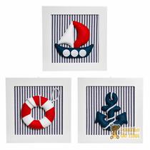 Trio Quadrinhos Decorados Quarto Bebê Infantil Marinheiro