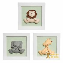 Trio Quadrinhos Decorados Bebê Infantil Bichos Floresta