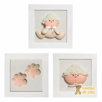Trio Quadros Decoração Quarto Bebê Infantil Ovelha Ovelhinha