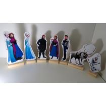 Kit 7 Displays De Mesa Frozen Enfeite Festa Mdf Decoração