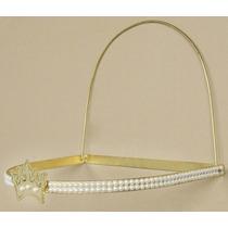 Dossel Coroa Dourado Pérolas C/ Véu Mosquiteiro Tecido Tulle